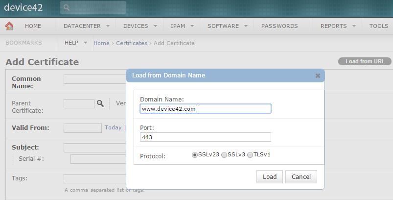 Add Certificate from URL