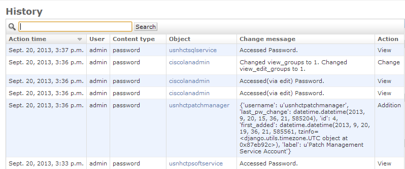Password History and Audit Trail