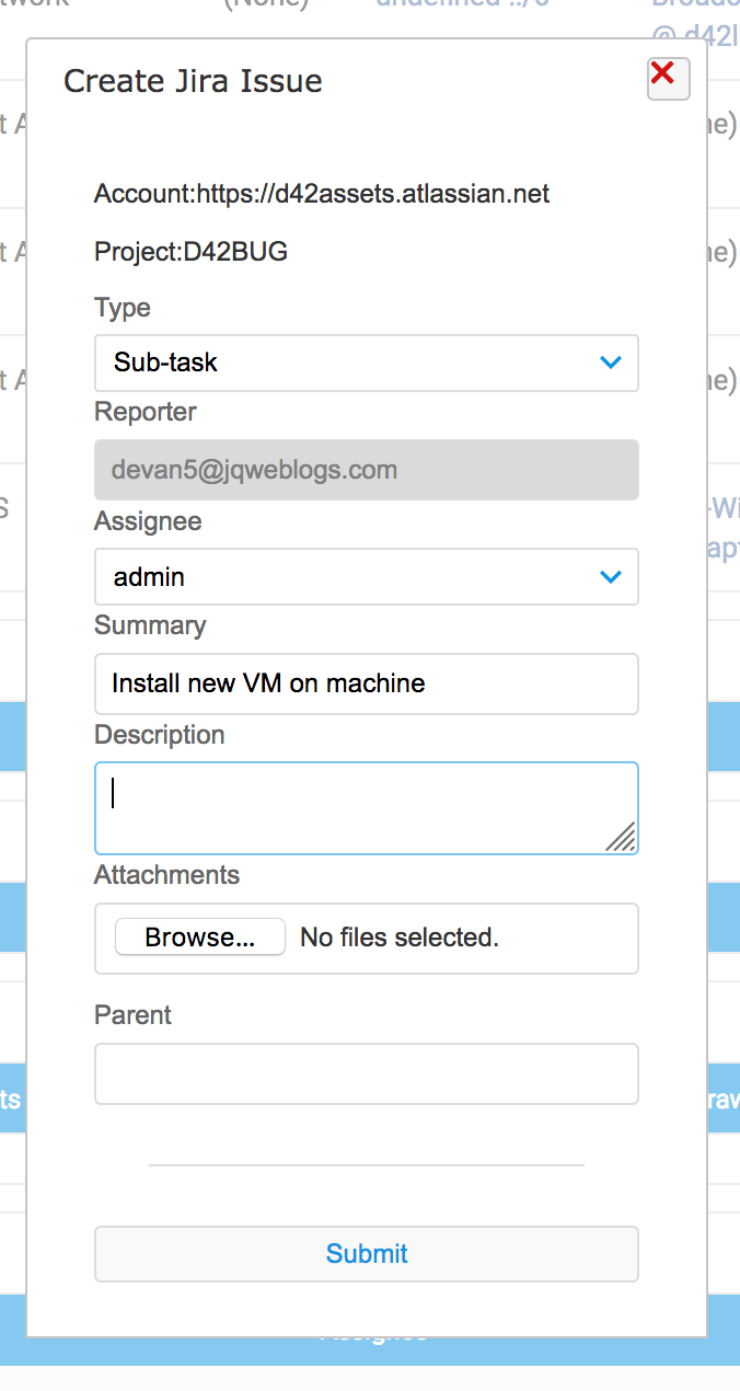 Create a new Jira Service Desk tickets right from Device42