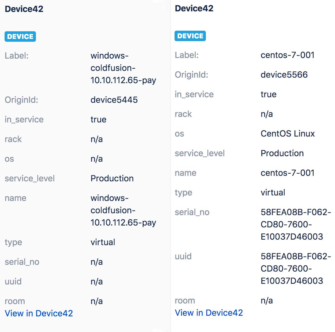 View Device42 CI details in Jira service Desk tickets
