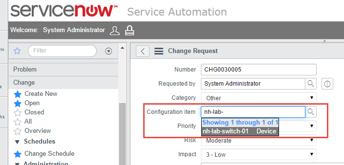Associate synced CI data from Device42 into ServiceNow with service requests